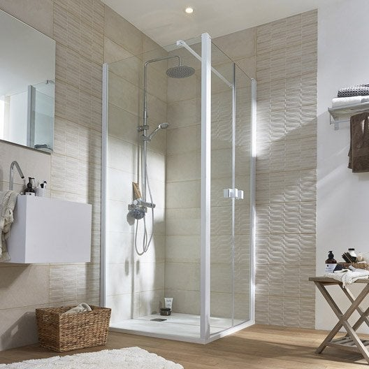 Porte de douche battante 90 cm transparent neo leroy merlin - Porte de douche 90 ...