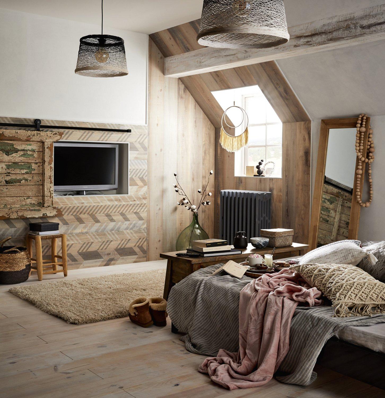 Chambre boh me avec patchwork de bois leroy merlin - Decoration interieur chambre adulte ...