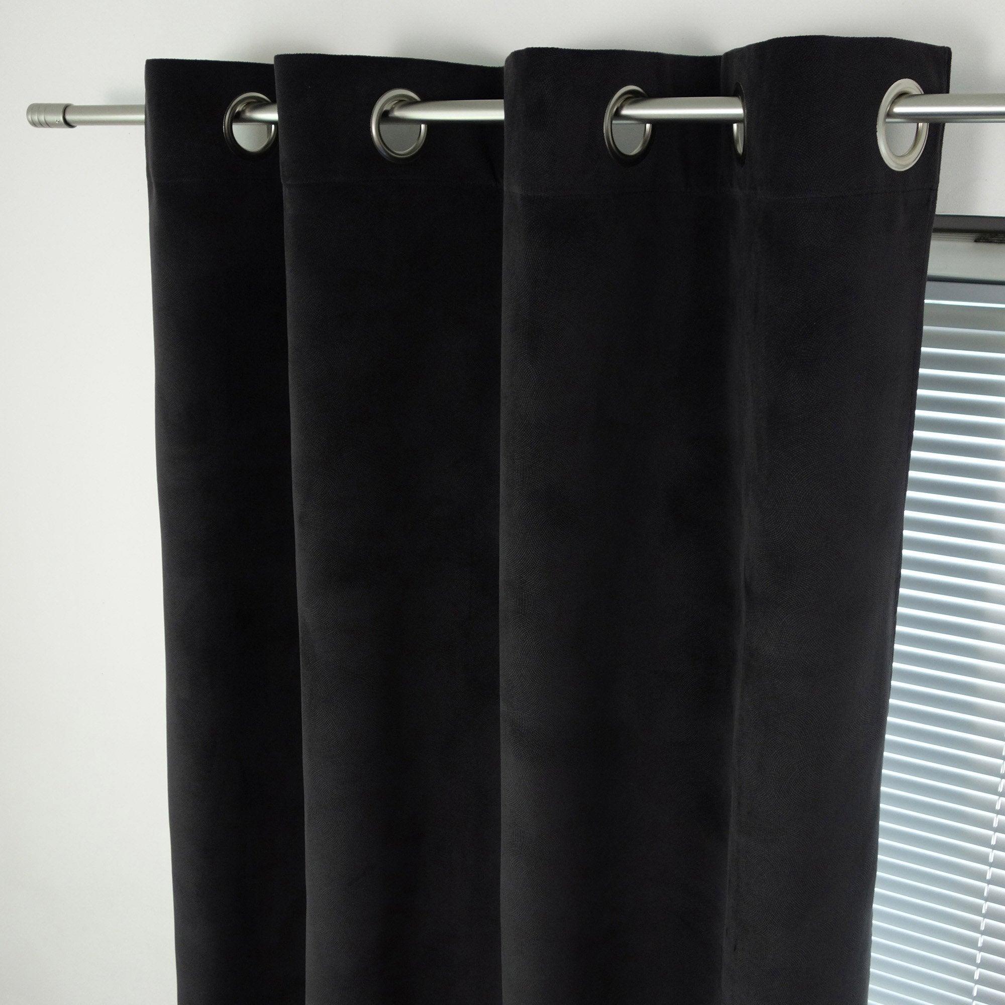 Rideau tamisant, Cambridge noir l.140 x H.260 cm