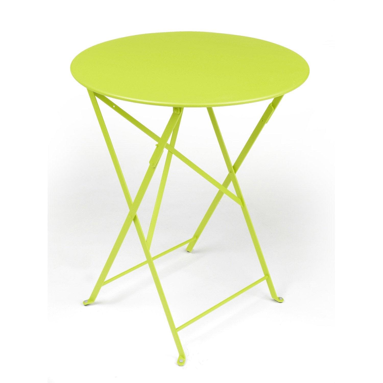 Table de jardin de repas FERMOB Bistro ronde verveine 2 personnes ...