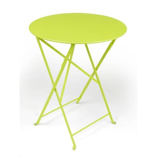 table de jardin fermob bistro ronde verveine 2 personnes. Black Bedroom Furniture Sets. Home Design Ideas