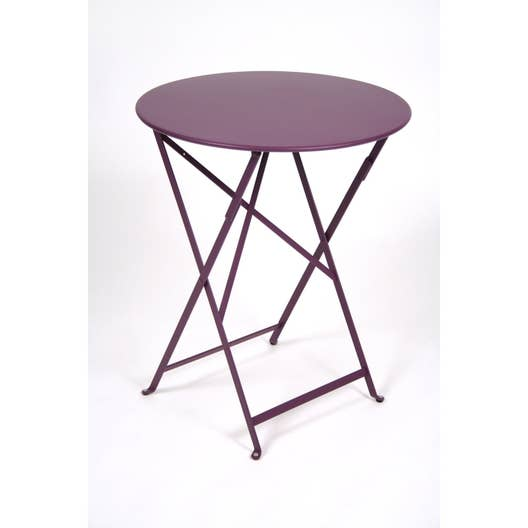 Table de jardin fermob bistro ronde aubergine 2 personnes for Fermob table de jardin