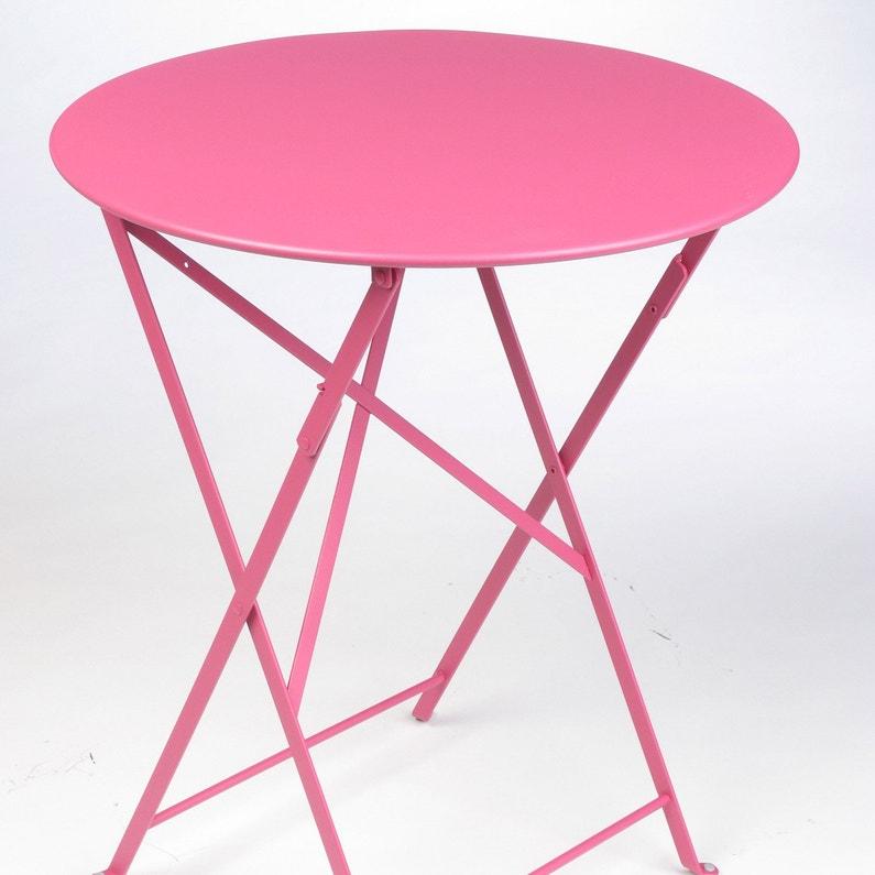 Table de jardin FERMOB Bistro ronde fuschia 2 personnes | Leroy Merlin