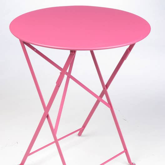 table de jardin fermob bistro ronde fuschia 2 personnes leroy merlin. Black Bedroom Furniture Sets. Home Design Ideas