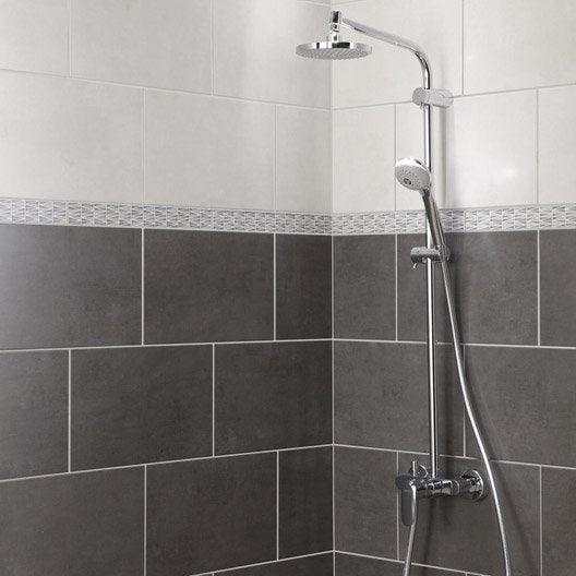 Fa ence mur anthracite smart x cm leroy merlin for Carrelage salle de bain gris anthracite et blanc