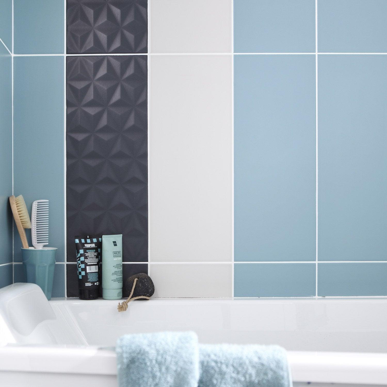 Faïence mur uni bleu baltique n°3 mat l.20 x L.50.2 cm, Loft