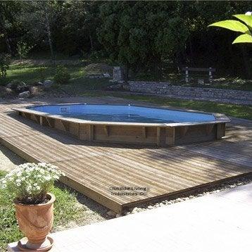 Piscine hors-sol bois Samoa, L.5.05 x l.3.55 x H.1.2 m