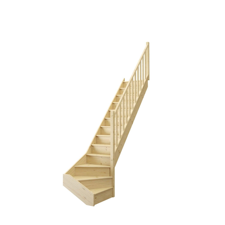 Escalier 1/4 tournant bas droit bois sapin Deva 2 13 marches sapin naturel, l.76