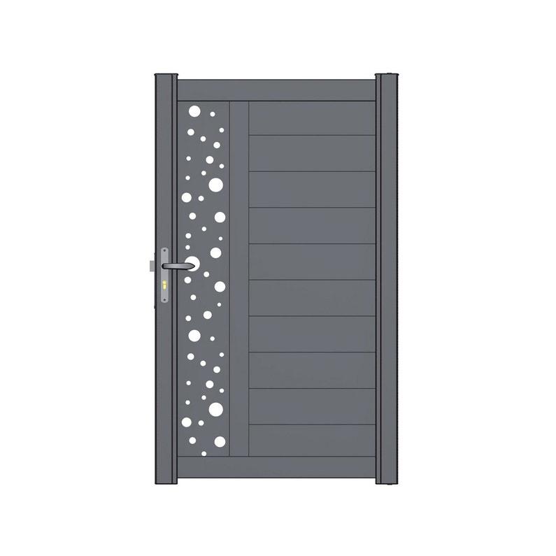 Portillon Battant Naterial Décor Bulle L 100 X H 170 Cm Anthracite