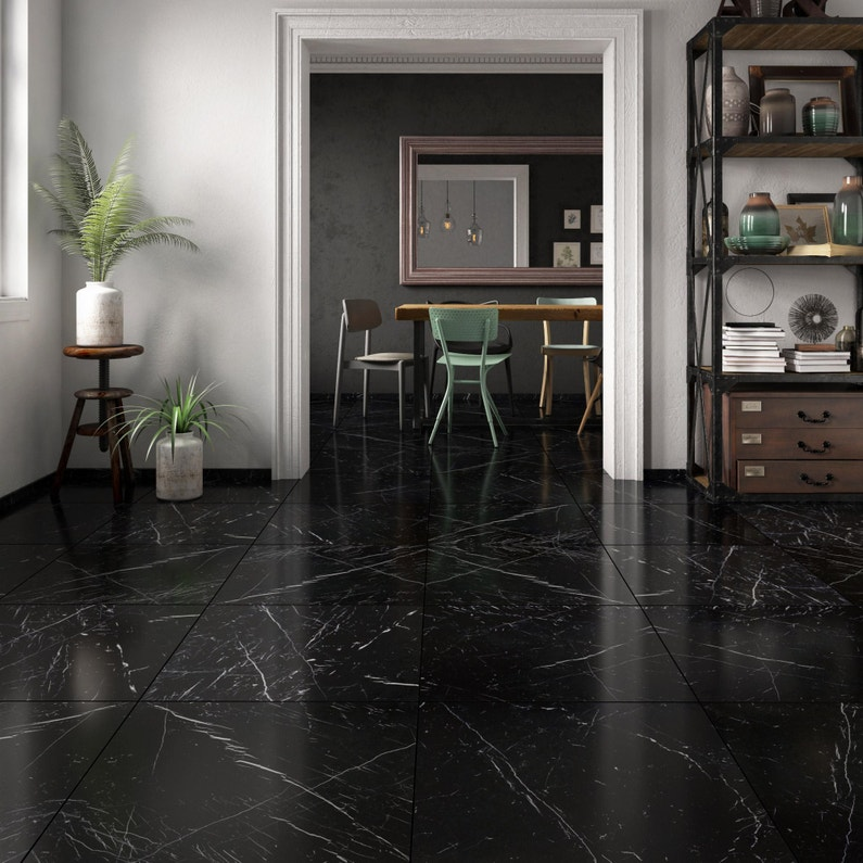 Carrelage sol et mur noir effet marbre Rimini l.60 x L.60 cm