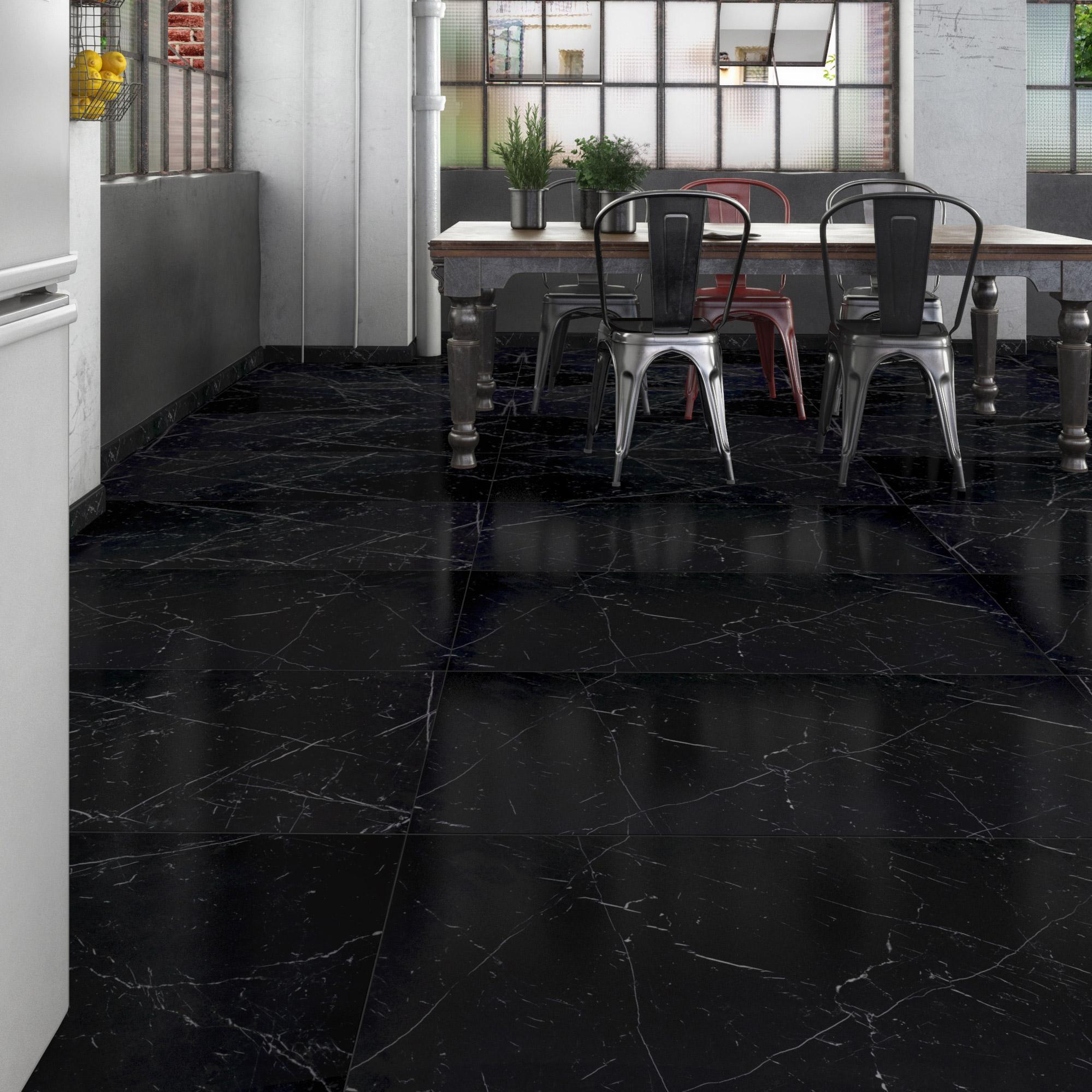 Carrelage sol et mur intenso marbre noir Rimini l.60xL.120cm CERIM INSPIRED+39