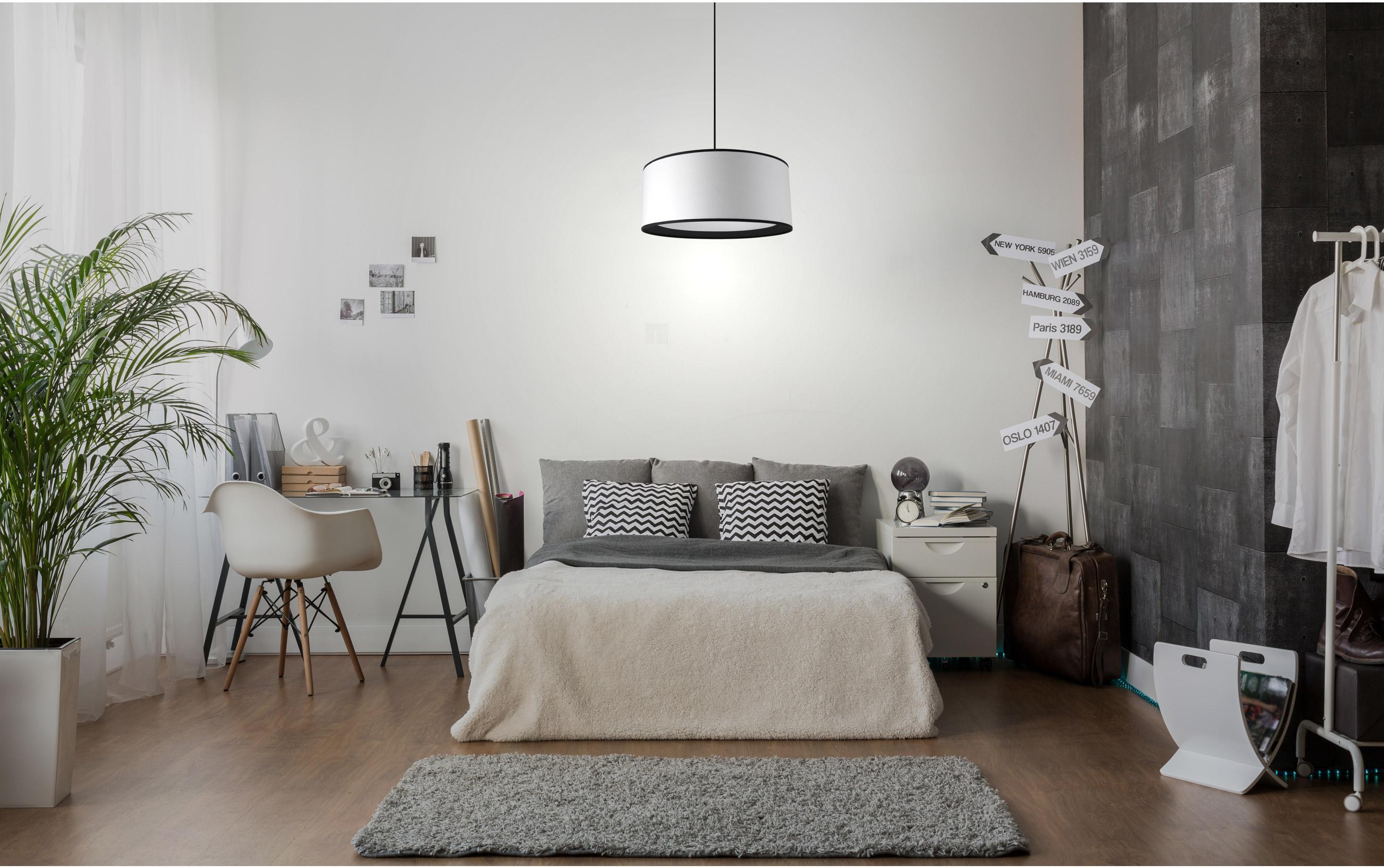 Suspension, e27 classique chic Natt line coton blanc - noir 1x60W METROPOLIGHT