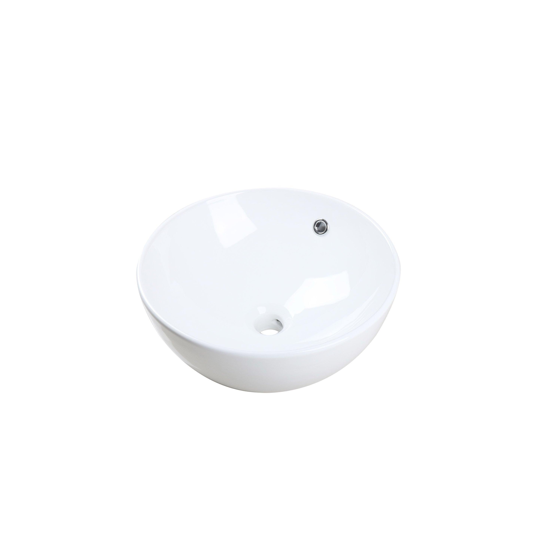 Vasque à poser céramique Easca l.41 x P.41 cm Diam.41 cm blanc