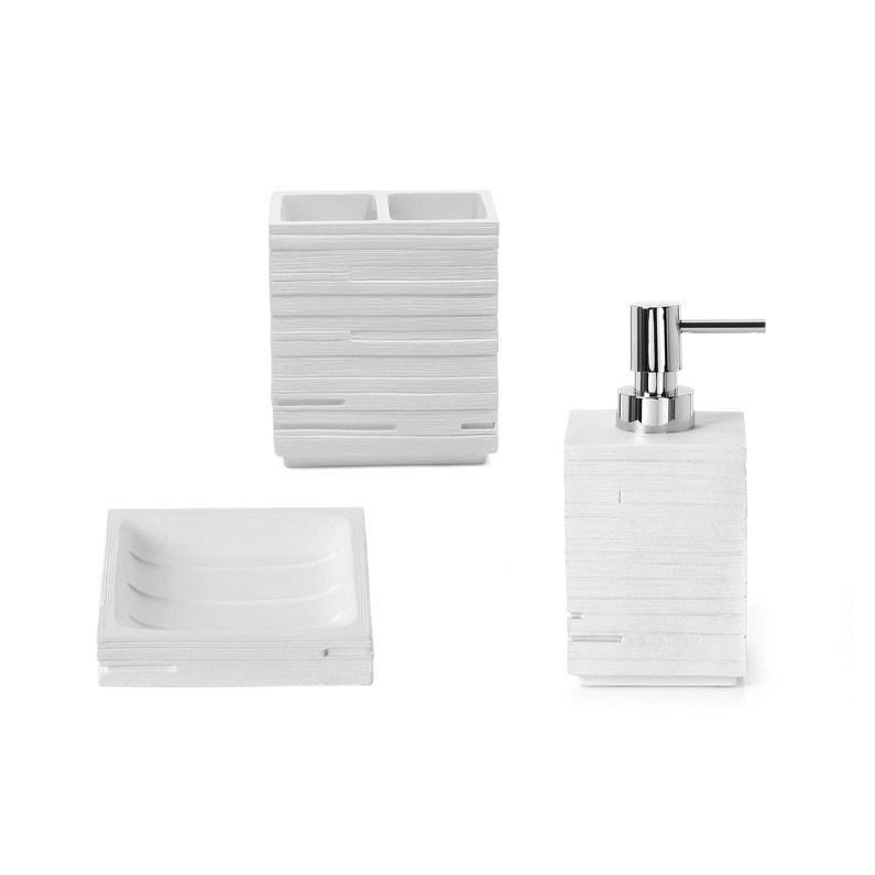 accessoire de salle de bains r sine quadrotto blanc. Black Bedroom Furniture Sets. Home Design Ideas