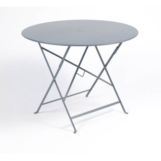 table de jardin fermob bistro ronde gris orage 4 personnes leroy merlin. Black Bedroom Furniture Sets. Home Design Ideas