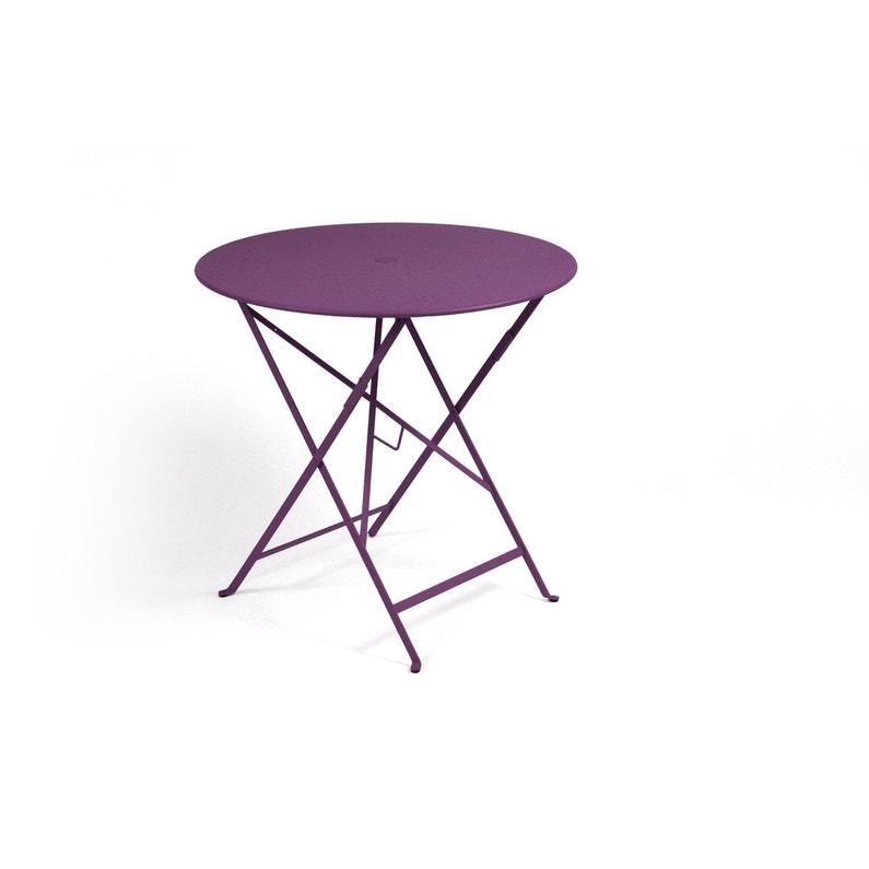 Table de jardin de repas FERMOB Bistro ronde aubergine 2 personnes ...