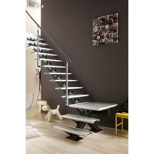Escalier quart tournant mona structure aluminium marche for Escalier sur mesure leroy merlin