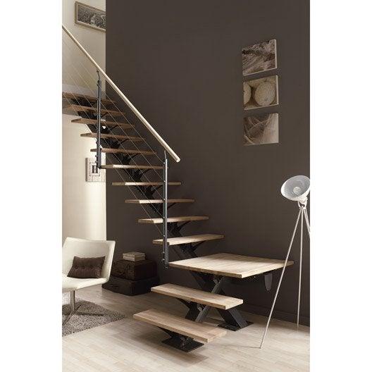 Escalier quart tournant mona structure aluminium marche for Type d escalier interieur