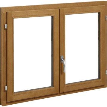 Fenêtre bois 2 vantaux ouvrant à la française H.75 x l.120 cm