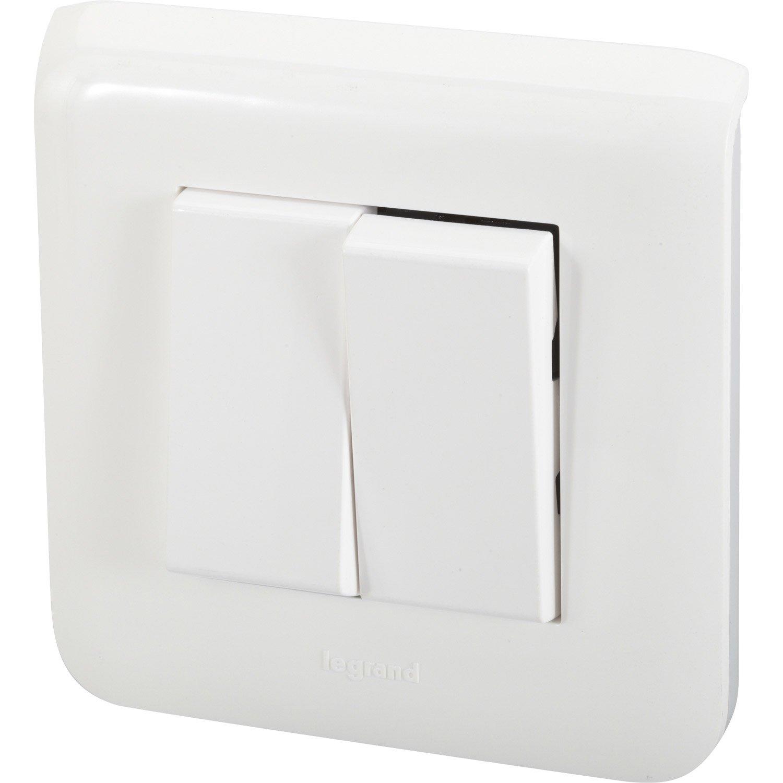 Double interrupteur va et vient mosaic blanc legrand - Interrupteur double va et vient ...