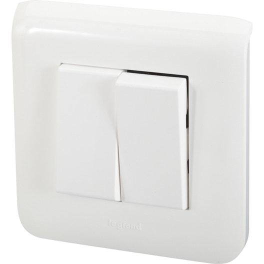 double interrupteur va et vient mosaic blanc legrand leroy merlin. Black Bedroom Furniture Sets. Home Design Ideas