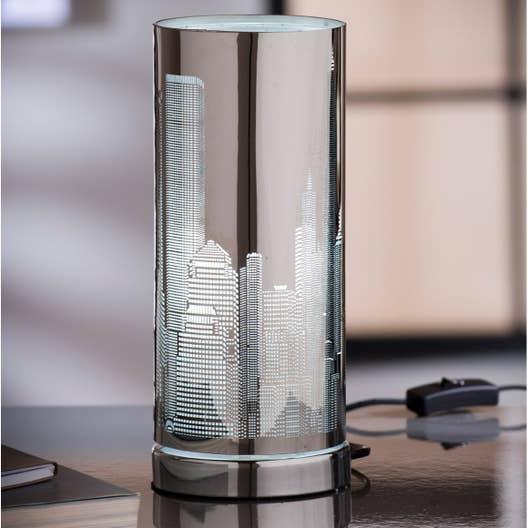 lampe e14 new york inspire m tal chrom 25 w leroy merlin. Black Bedroom Furniture Sets. Home Design Ideas