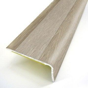 Nez de marche aluminium revêtu déco décor chêne L.95 x l.3.6 cm