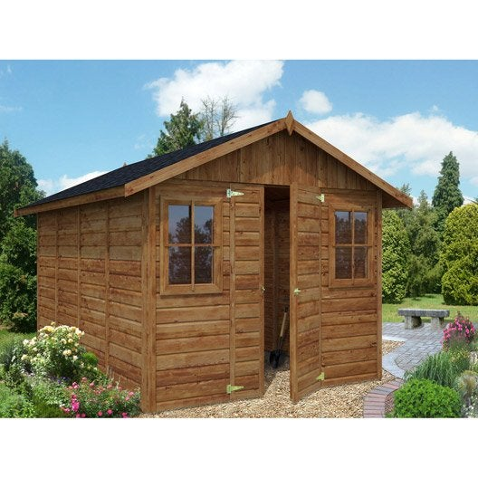 Abri de jardin bois colombiere 9 3 m mm leroy merlin for Cabane de jardin en bois leroy merlin