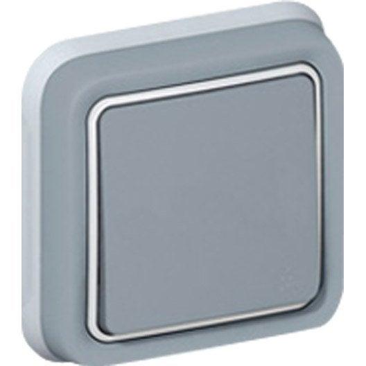 Interrupteur va et vient tanche plexo legrand gris for Interrupteur exterieur legrand