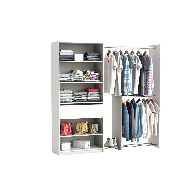 kit dressing blanc xxl x x cm leroy merlin. Black Bedroom Furniture Sets. Home Design Ideas