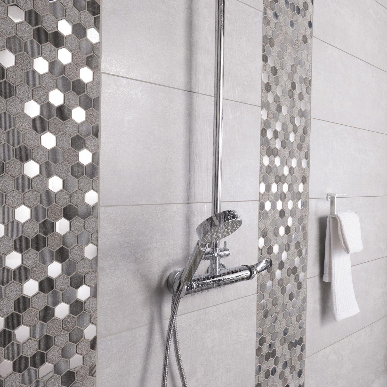 Carrelage mur et sol gris mat l.29.7 x L.59.5 cm, Trésor
