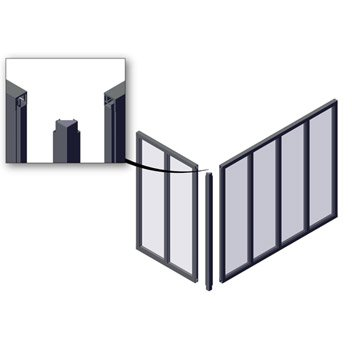 Poteau d'angle pour verrière en kit aluminium gris