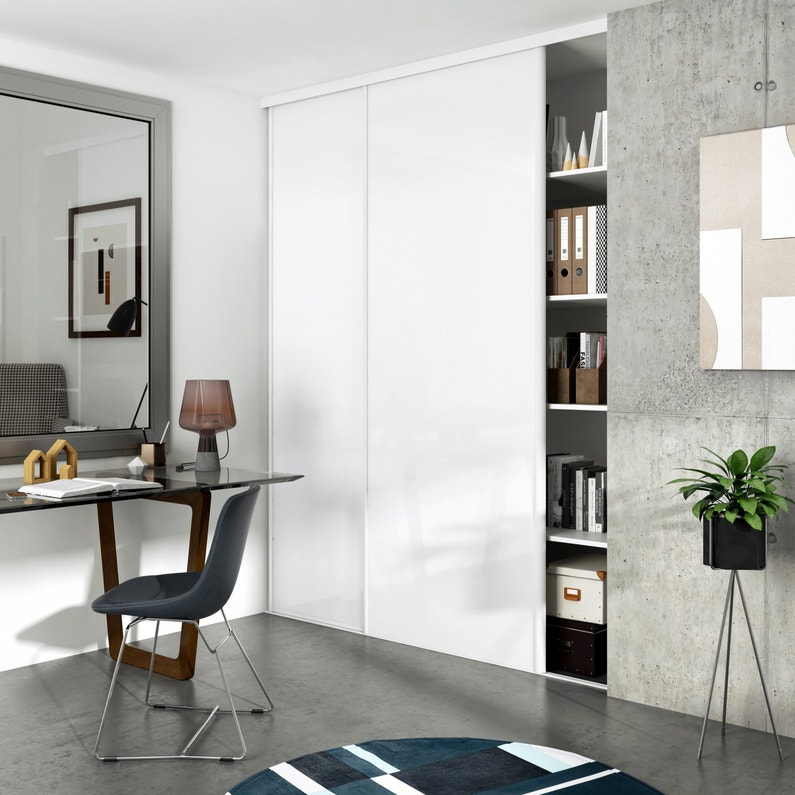 Porte De Placard Coulissante Blanc Brillant Spaceo L 98 7 X H 250 Cm