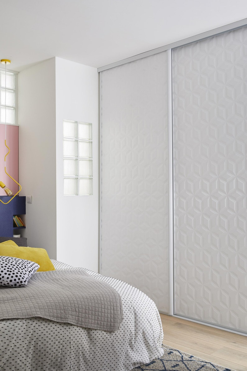 Porte De Placard Coulissante Origami Blanc Spaceo L 98 7 X H 250 Cm