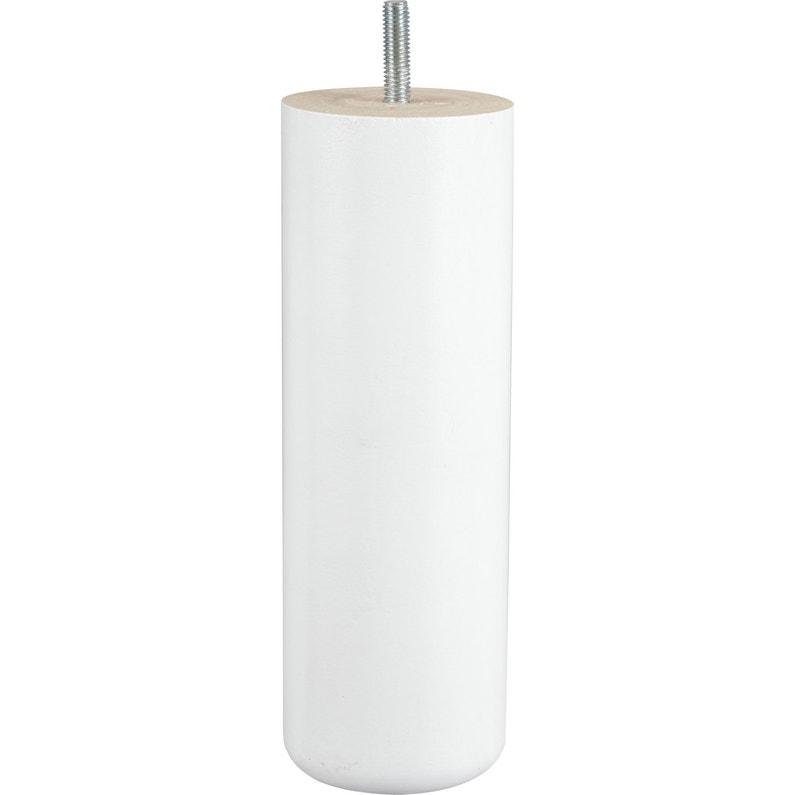 Pied De Lit Sommier Cylindrique Fixe Hêtre Laqué Blanc 20 Cm