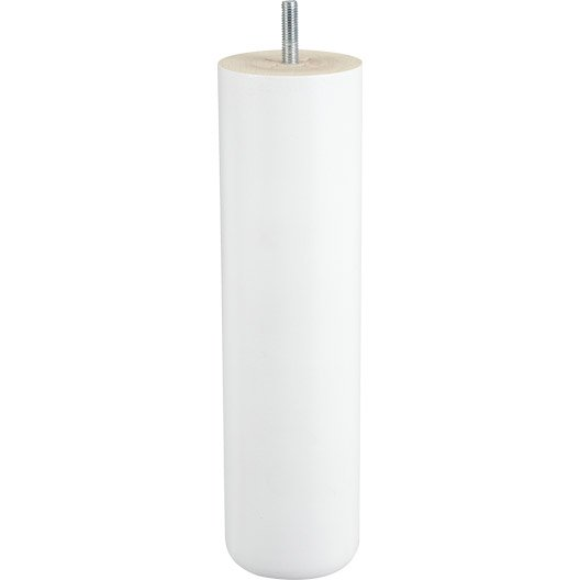 pied de lit sommier cylindrique fixe h tre laqu blanc 25 cm leroy merlin. Black Bedroom Furniture Sets. Home Design Ideas