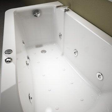 Baignoire balnéo avec tablier asymétrique L.160x l.90 cm, THALA Confort