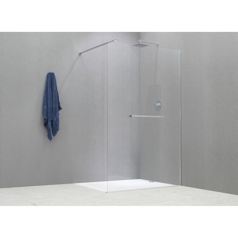 Paroi de douche l 39 italienne cm verre transparent 8 mm cube leroy merlin - Paroi de douche 100 ...
