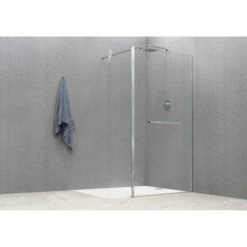 Paroi de douche à l'italienne, l.90+70 cm verre transparent 8 mm Cube