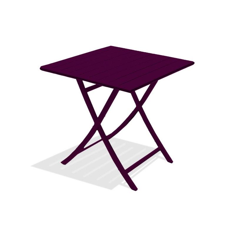 Table de jardin Marius carrée aubergine 2 personnes | Leroy Merlin