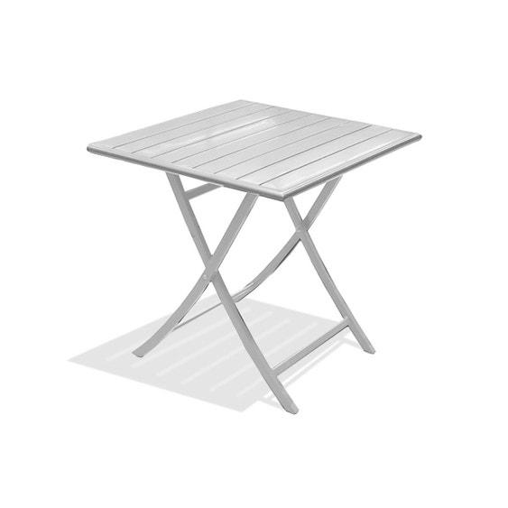 Table de jardin Marius carrée gris métal 2 personnes   Leroy Merlin