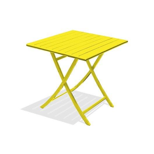 Table de jardin marius carr e jaune zinc 2 personnes - Table de jardin 2 personnes ...