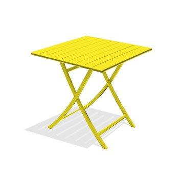 Table de jardin Marius carrée jaune zinc 2 personnes