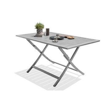 Table de jardin aluminium bois r sine leroy merlin - Table de jardin en acier ...