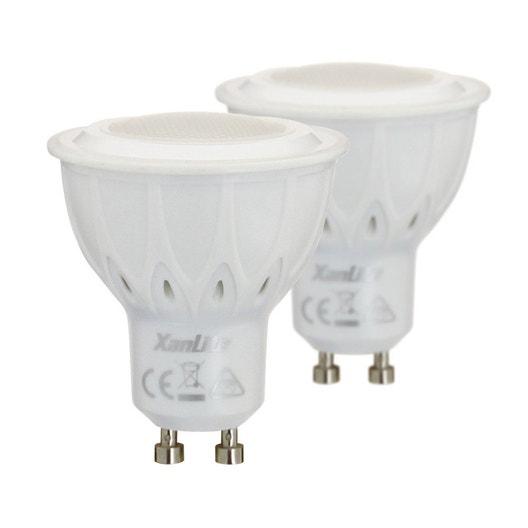 2 ampoules réflecteurs LED 5.6W = 345 lm (équiv 50W) GU10 2700K 100° XANLITE