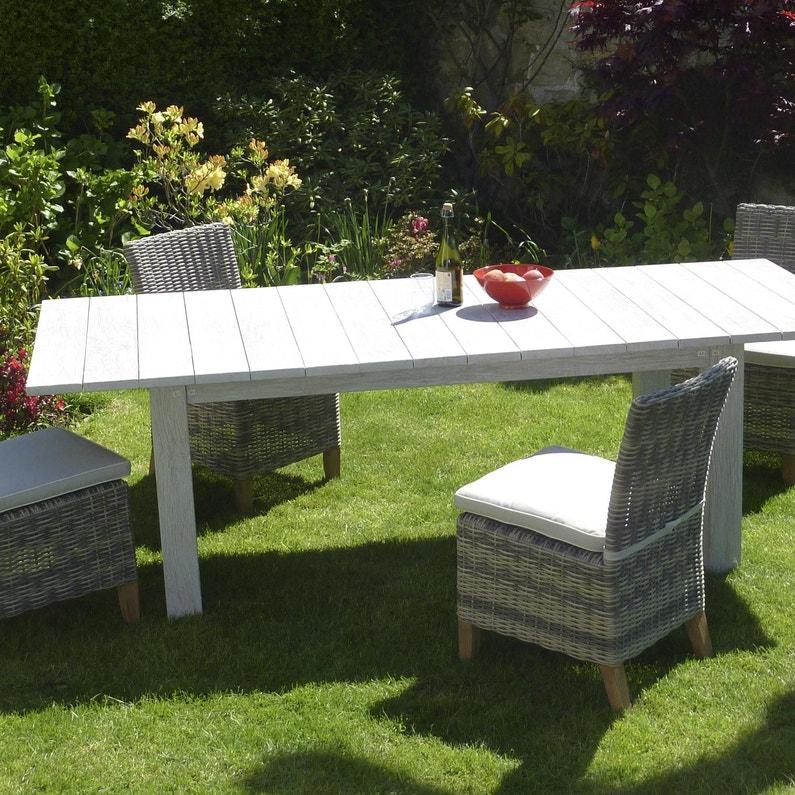 Table de jardin Vintage rectangulaire blanchi 10 personnes   Leroy ...