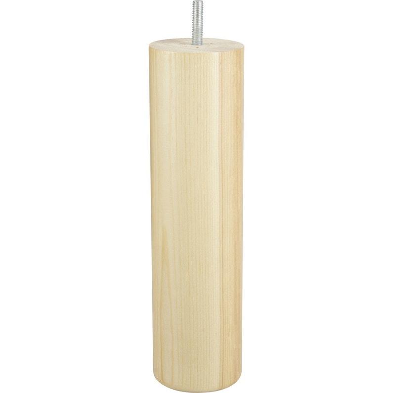 Pied De Lit Sommier Cylindrique Fixe Pin Vernis Blanc 25 Cm