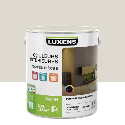 Peinture blanc ivoire 1 luxens couleurs int rieures satin 2 5 l leroy merlin - Peinture blanc ivoire ...