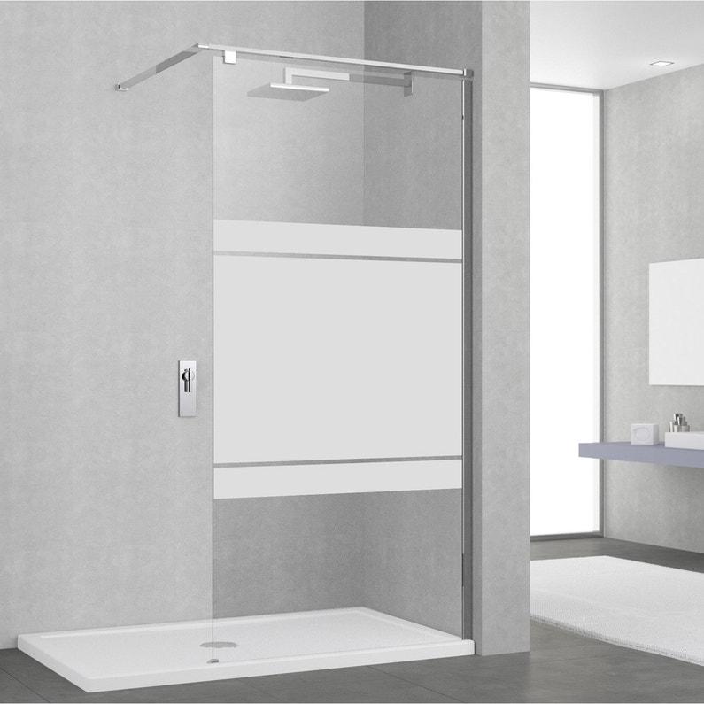Paroi de douche à l\'italienne, l.90 cm verre sérigraphié 8 mm Eliseo