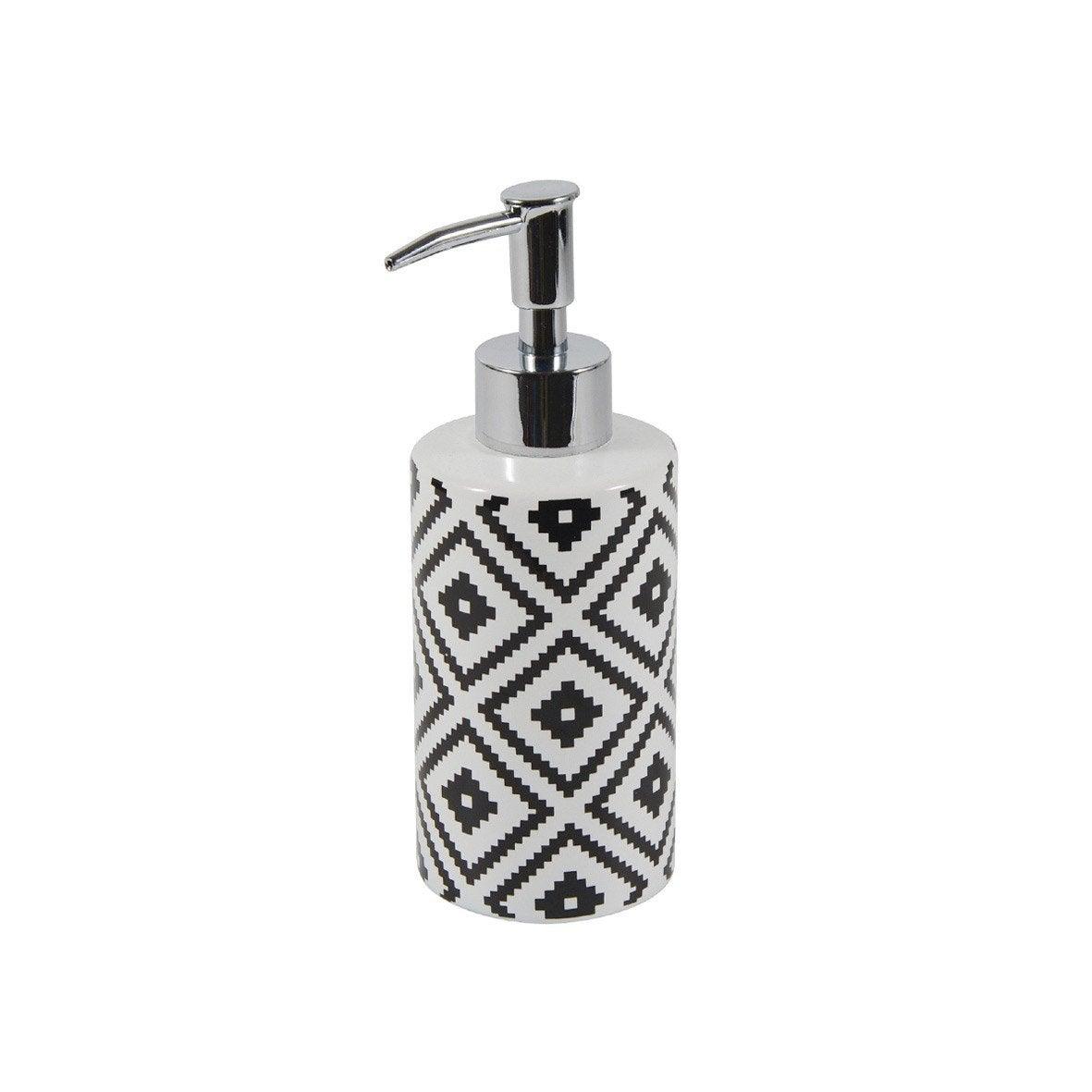 Distributeur de savon céramique Ethnic, noir et blanc